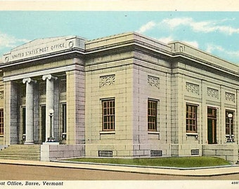 Lot of Five Vintage New Old Stock Postcards Post Office Barre, Vermont - MINT