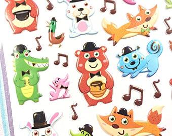 Kawaii musical animals sticker sheet - kawaii puffy sticker sheet