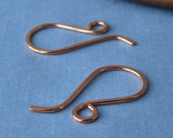Handmade Copper Earwires, Wee French Ear Wire Findings, 5 pairs