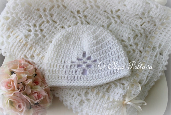 White Lace Christening Blanket And Baby Hat Crochet Pattern