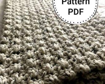 Crochet Blanket Pattern/ Chunky Crochet Throw Blanket - Chunky Crochet Blanket - Chunky Afghan - Farmhouse Decor - Beginners Pattern