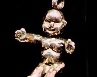 14 Karat Gold Mardi Gras King Cake Baby Pendant