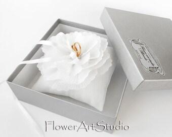 Wedding ring pillow White ring pillow Wedding ring bearer pillow Satin ring pillow with flower