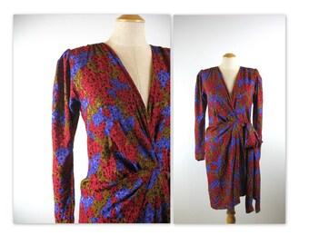 Vintage 80s Yves Saint Laurent Dress in Silk asymmetrical wrap style Rive Gauche