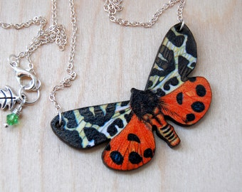 Tiger Moth Necklace | Wooden Moth Pendant Necklace | Insect Jewelry | Moth Art