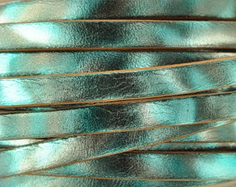 5MM Metallic Camouflage Leather - Turquoise - 2ft/24""