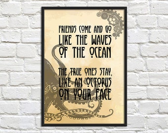 SALE A3 Print - Steampunk Art Print Poster - Octopus on your Face - Wall Decor, Inspirational Print, Home Decor, Gift,