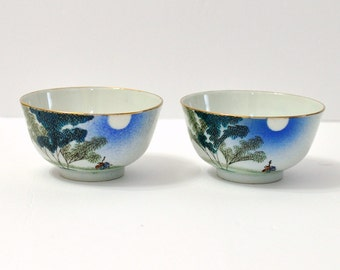 Vintage Chinese Hand Painted Porcelain Rice Bowls