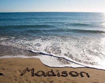 Name in Sand, Baby Girl Gift, Personalized Artwork, Beach, Nursery Decor - Madison