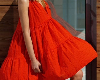 Plus size dress, Over size dress, Beach dress, Gauze dress, Bohemian dress, Red summer dress, Maxi cotton dress, Womens dress casual,