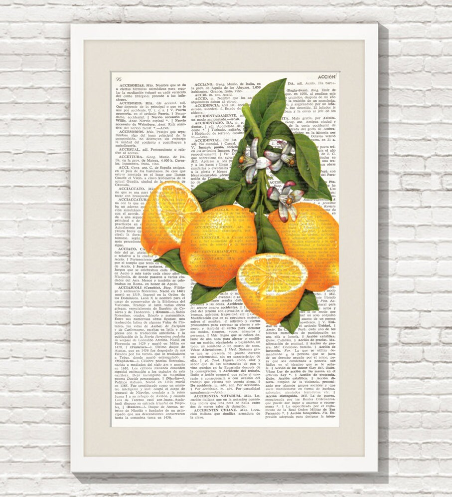 Dictionary Art Print LEMONS Wall Art kitchen decor fruit