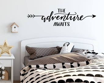The Adventure Awaits Decal - Nursery Wall Decal - Nursery Decals Boy - Nursery Decals Girl - Playroom Wall Decal - Arrow Decal - Kids Room