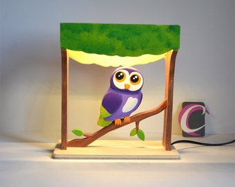 Purple handcrafted OWL wooden bedside lamp