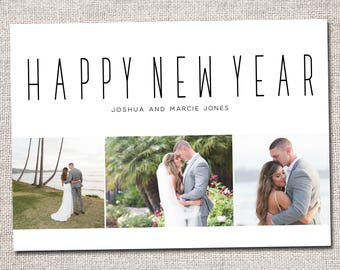 New Years Card, Photo New Years Card, Holiday card, Printable New Years Card (3 photo gold)