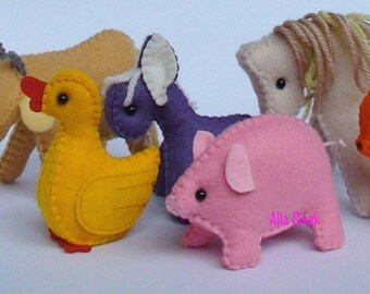Farm animals, Waldorf felt toys, waldorf farm animals, eco friendly farm animals, waldorf toys, child's toy, donkey,