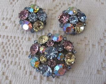 Vintage Rhinestone Brooch Set, Signed Karu Arke, Domed Brooch & Clip Earrings
