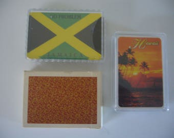 Vintage Playing Cards - 3 Packs of Playing Cards, Virginia Slims, Hawaii and No Problem Jamaica