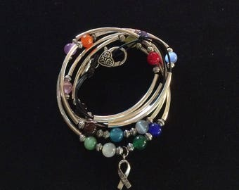 Lin's HOPE / Combination Bracelet Necklace / Cancer Awareness Stones