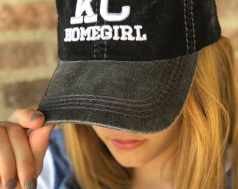KC HOMEGIRL Gray Black Baseball Cap