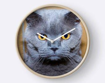 Grumpy British Blue Cat Wall Clock