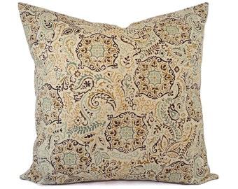Two Damask Pillow Covers - Blue Green Yellow Pillows - Neutral Pillow Sham - Cream Pillow - Custom Pillow - 16 Inch Pillow - 18 x 18 Pillow