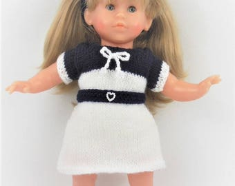 Dress, headband and shoes set Navy Blue and white for doll