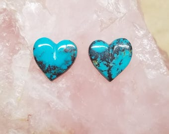Bisbee Blue Turquoise Heart Cabochon Pair/ backed