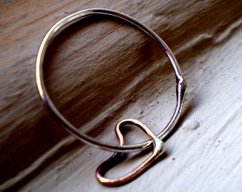 We are in Love - One Simple Heart Sterling Silver and Rose Gold Filled Stacking Ring