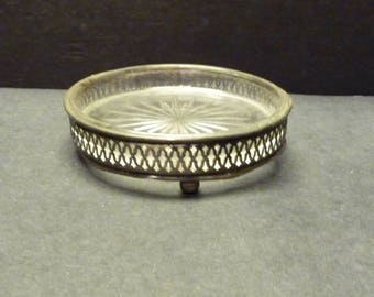 Silver plate Filagree Candy or Trinket dish, Stubby footed