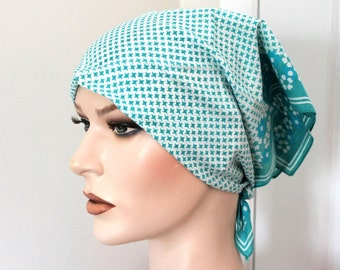 Vintage aqua/white cotton scarf,houndstooth/flower pattern,aqua cotton scarf, aqua houndstooth scarf,aqua scarf,women,costume,theater prop