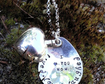 Custom Sterling Silver Remembrance or Loss Necklace - Vessel Urn - Memorial Jewelry - Ashes Holder - Font Choices - Your Message