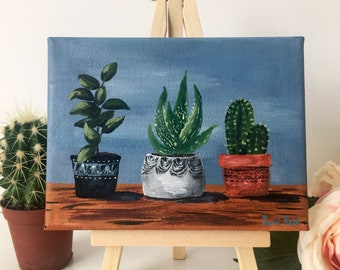 "Mini 5""×6"" Plant Pots Acrylic Painting on Canvas with Easel"