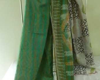 Vintage silk Kantha, FREE SHIPPING, wrap, large silk scarf, reversible, emerald green and gray, table runner, home decor, furniture cover
