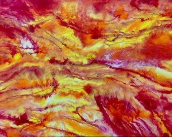 Sun burst resin painting 14x11