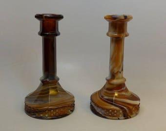 Imperial Caramel Slag Glass Candle Holders - Slag Glass - Vintage Candle Holders
