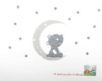 Applied bear fusing moon stars starry gray fabric liberty applique glitter flex fusible iron-on patch Teddy bear pattern