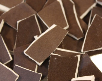 100 Chocolate Brown Ceramic Mosaic Tile Pieces, Mosaic Supplies, Thin Ceramic Mosaic Tiles, Item # ST-5080