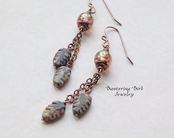 Ocean Jasper Carved Stone Dangle Earrings, Green Leaf Cluster, Glass Beads, Boho Copper Jewelry