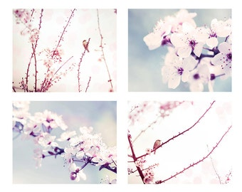 blossom photography print set birds photography spring 8x10 12x18 fine art photography birds in a tree blossom wall decor lilac pastel pink