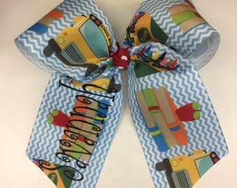 Back to School, Hair Bow, Custom Monogram Name, Bus Apple Pencil, Hairbows, Girls Bows, Embroidery Crayons, Primary Colors, Kindergarten