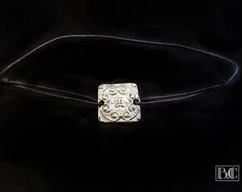 """Tile-cement"" bronze white grey cord adjustable bracelet"