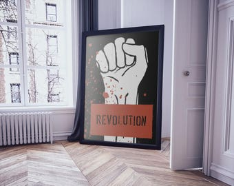 Poster art,  Poster print, Modern art, Poster vintage, Modern wall art, Revolution, Modern prints, digital download