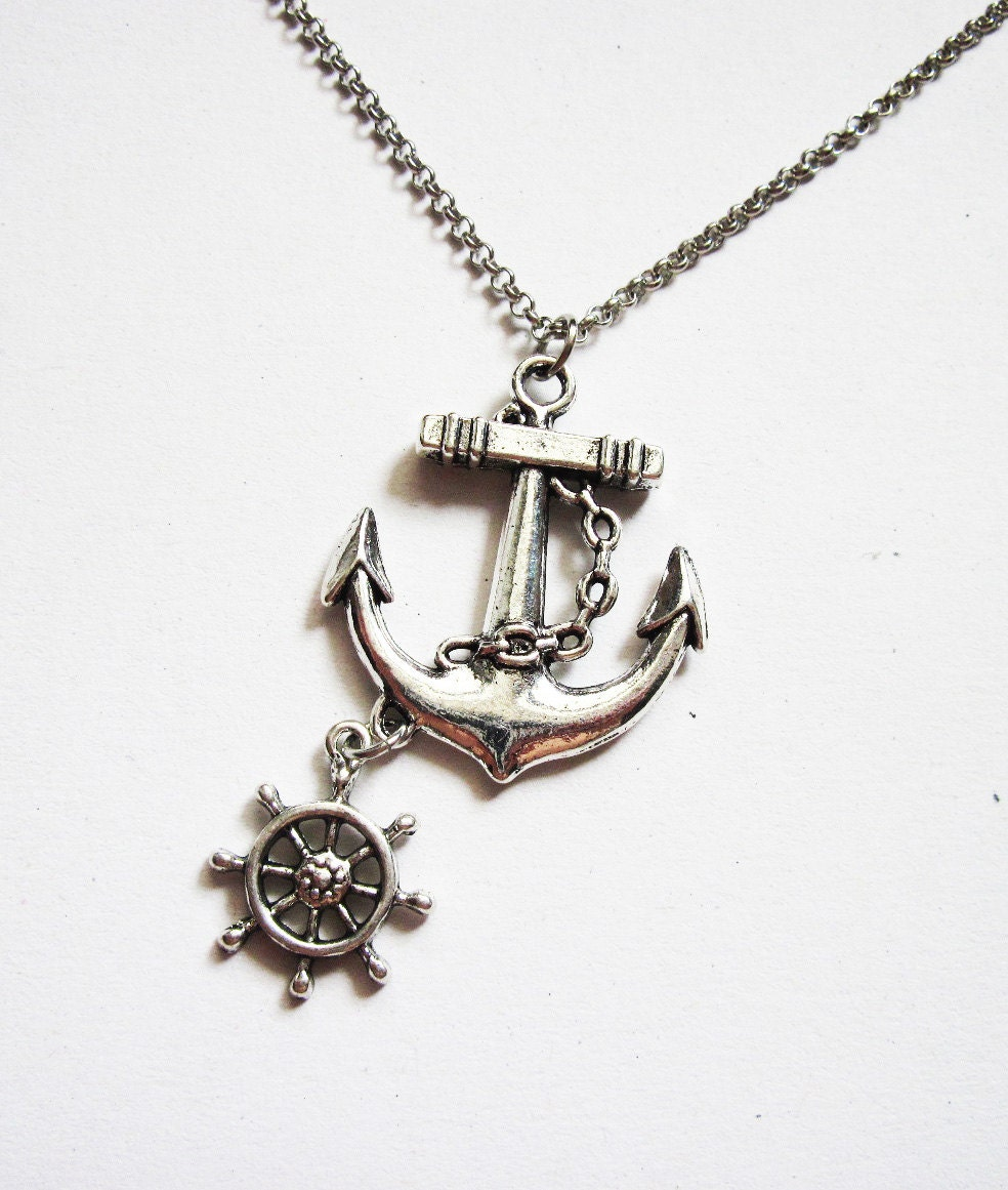Anchor necklace nautical jewelry sea necklace beach zoom aloadofball Images