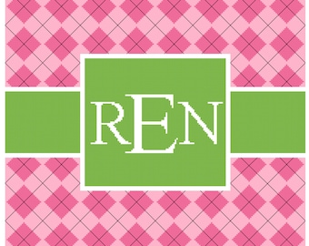Argyle Green and Pink Frame with Monogram Cross Stitch Pattern