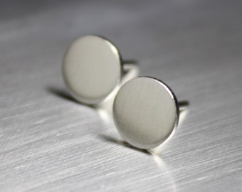 Thumbtack Earrings, Circle Earrings, Silver Earrings, Matte finish
