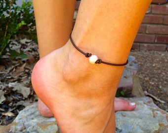 Fresh water pearl and leather anklet, Summer style, beach style, boho style, bohemian anklet