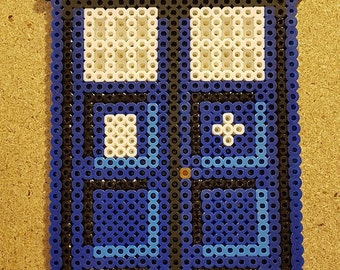 """Doctor Who TARDIS Perler Bead Sprite (10"""" Tall / Made To Order)"""