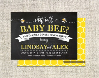 bee gender reveal party invitation, what will baby bee, bumble bee, baby shower, boy or girl, party invitation, PRINTABLE or PRINTED INVITES