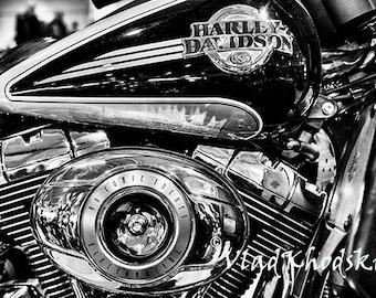 Harley's Beauty - black  and white photograph, fine art print, motorbike, Harley Davidson, machinery, home decor, wall decor, vintage