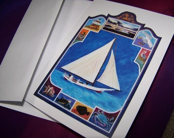 Blank Nautical Note Cards,Blank Note Cards, Chesapeake Bay Note Cards, paper goods, note cards
